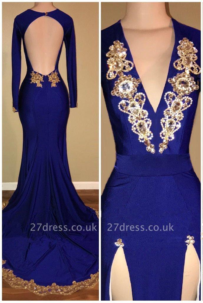 Royal-Blue Long-Sleeve Prom Dress UK   Gold Beadings Mermaid Evening Dress UK With Slit BA8513