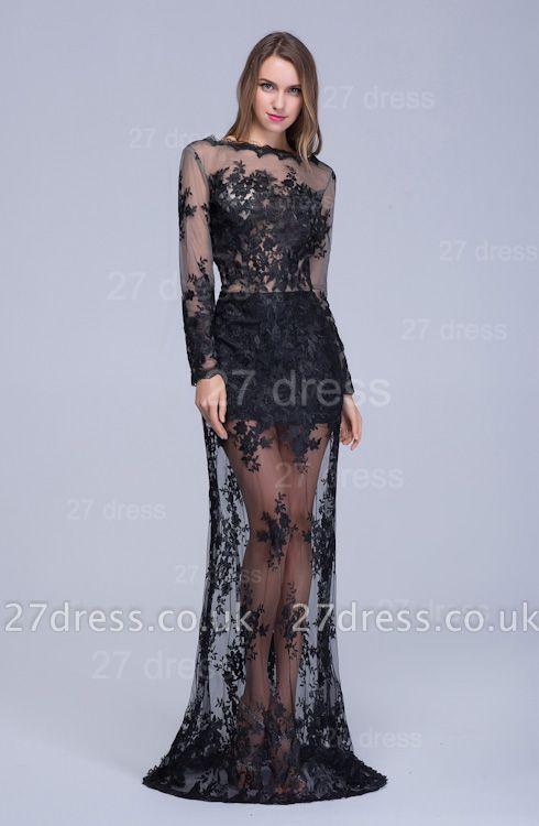 Elegant Long Sleeve Black A-line Evening Dress UK Lace Appliques