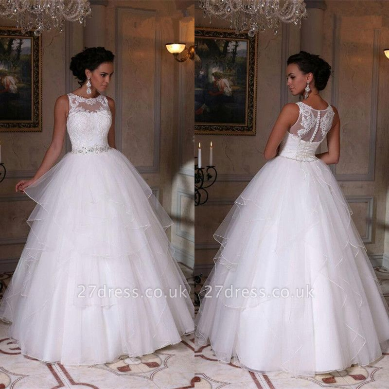 Modern White Scoop Neckline Sleeveless Wedding Dress Appliques Tulle Bridal Gowns