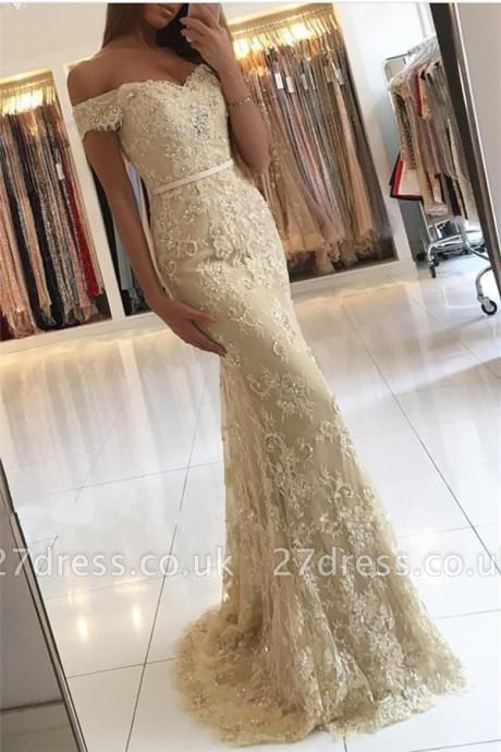 Luxury Off-the-Shoulder Mermaid Evening Dress UK Lace Appliques Long Party Gowns BA6944