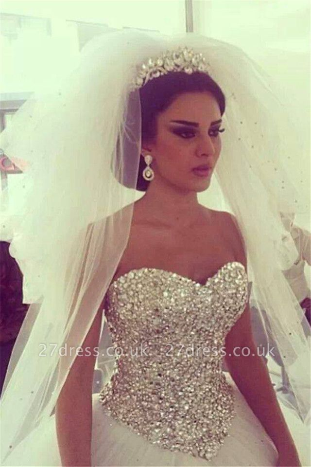 Elegant Tulle Ball Gown Wedding Dress With Crystals