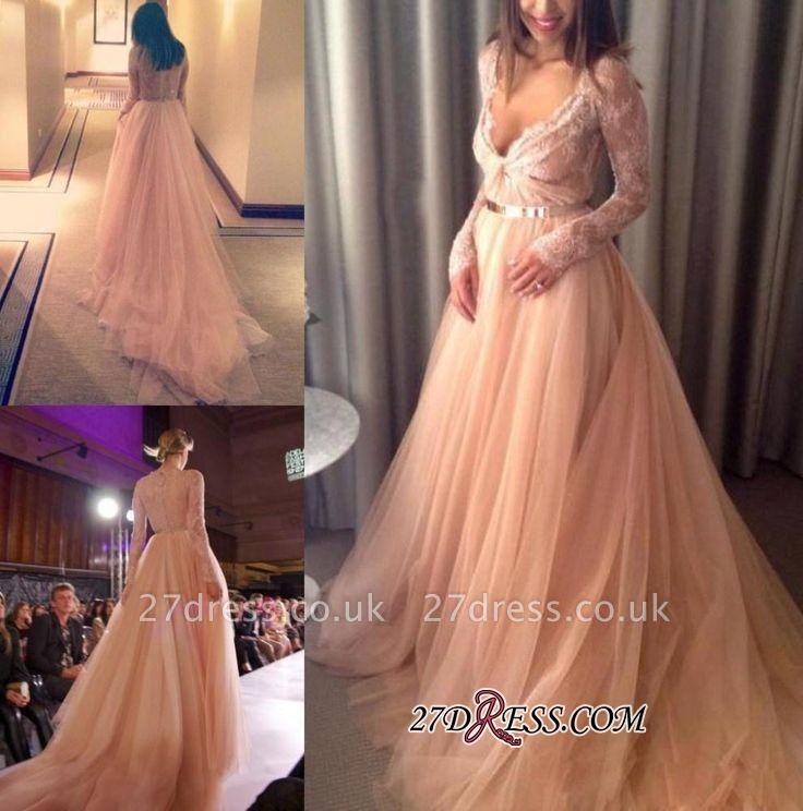 V-Neck Beautiful Tulle Long-Sleeve Lace Long Evening Dress UK