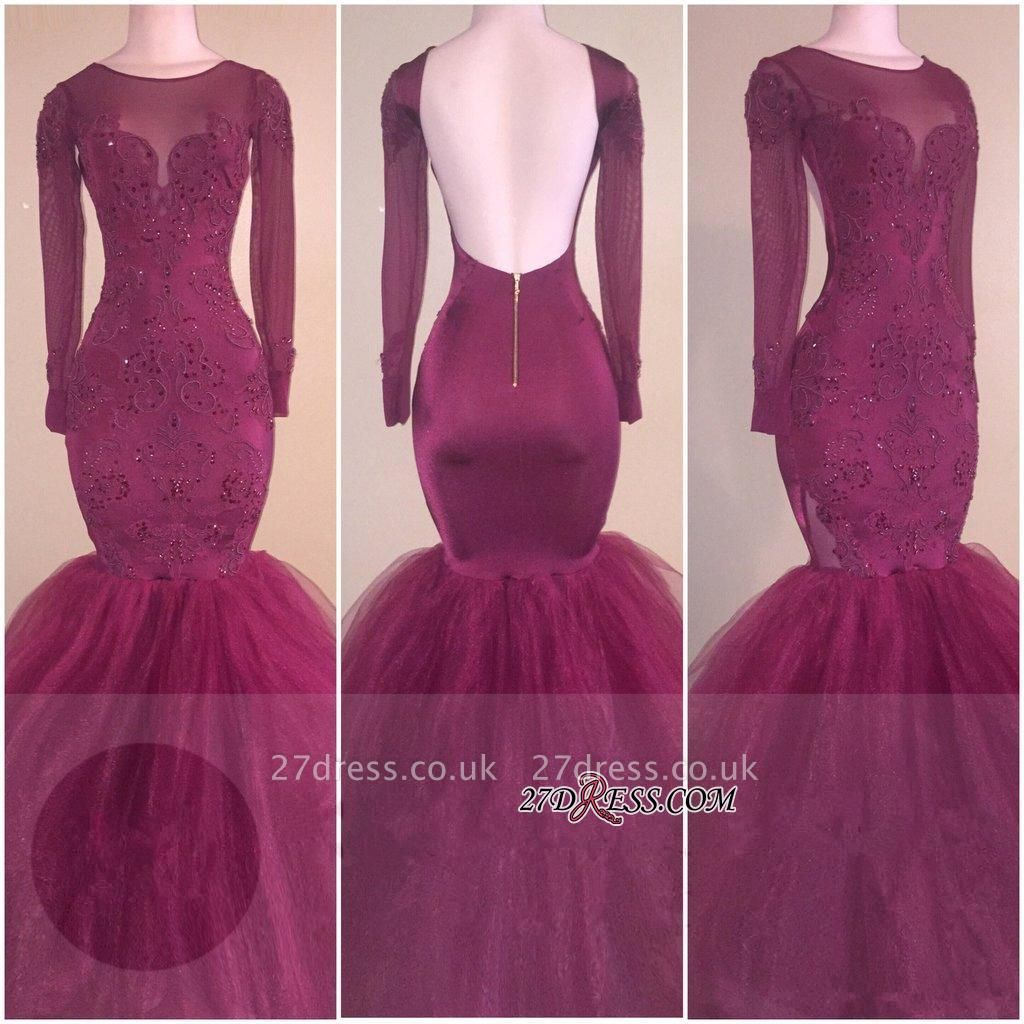 Sexy Long-Sleeves Backless Tulle Mermaid Appliques Prom Dress UK