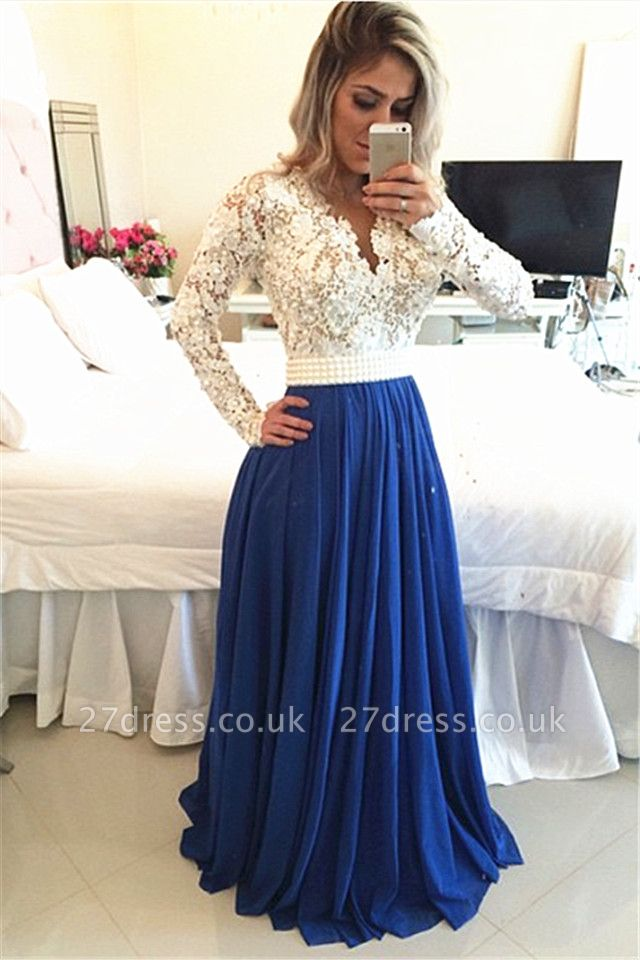 Gorgeous Long Sleeve Chiffon Prom Dress UK With Pearls And Lace Appliques BT0