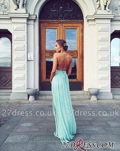 Straps Chiffon Mint Backless Floor-length Elegant Long Evening Dress UKes UK BA3350