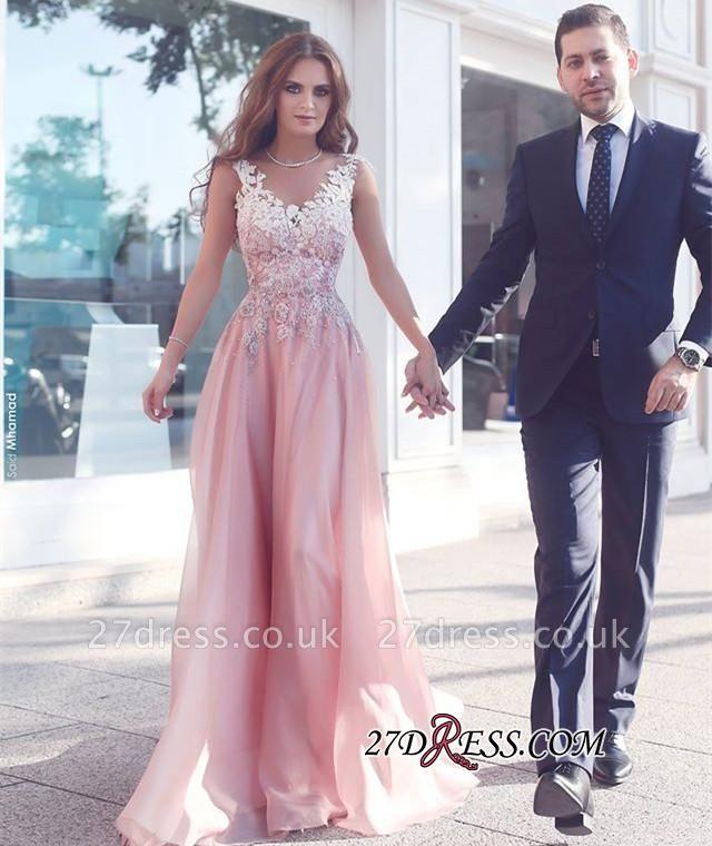 Appliques Sleeveless Pink Floor-Length A-Line Evening Gowns BA4358