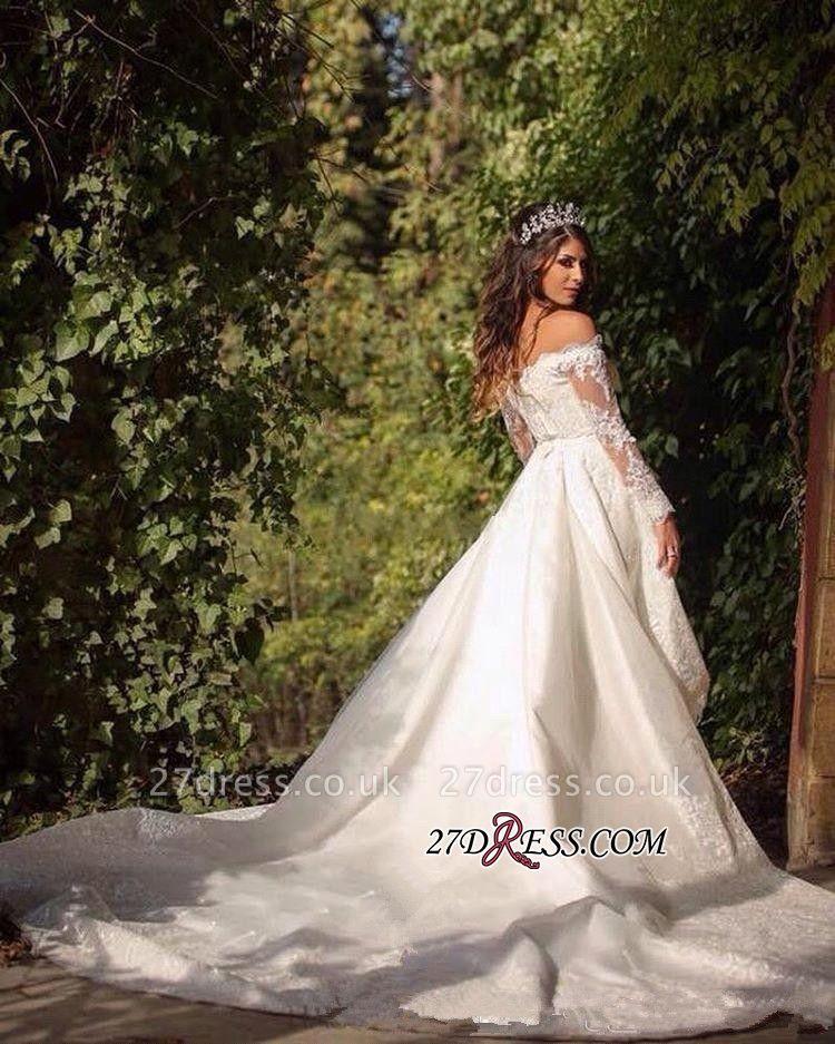 Pretty Long-Sleeve Lace Princess Off-the-Shoulder Wedding Dress