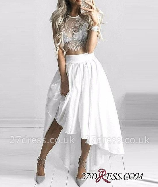 Hi-Lo White Capped-Sleeves Lace Elegant Two-Piece Prom Dress UKes UK