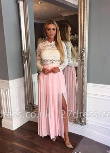 Zipper High-Neck Sexy Split Lace Chiffon Long-Sleeve A-line Prom Dress UK