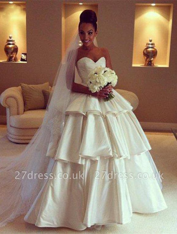 Gorgeous Sweetheart Layered Wedding Dresses UK Ball Gown Floor Length Bridal Gown