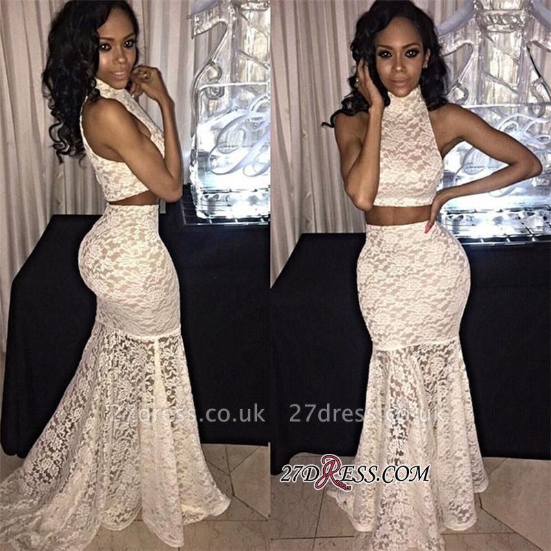 Mermaid Lace Sweep-Train High-Neck Two-Piece Elegant Sleeveless Prom Dress UK BK0 BA7945