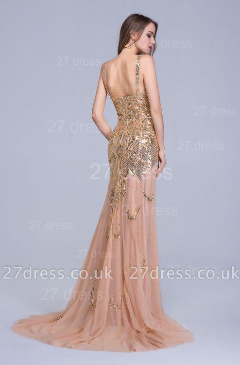 Gorgeous Straps Mermaid Sequins Evening Dress UK Sweep Train