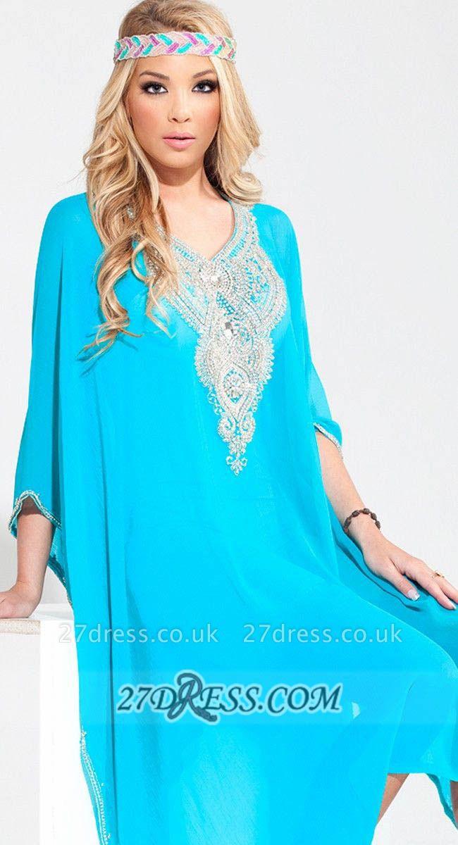 Gorgeous V-neck 3/4-length Sleeve Chiffon Arab Evening Dress UK With Beadings Crystals