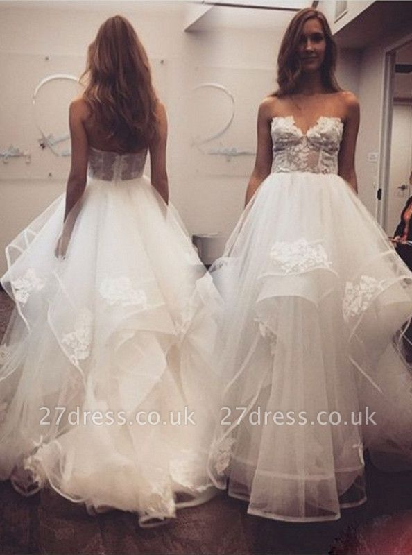Delicate A-line Sweetheart Lace Tulle Cheap Wedding Dress