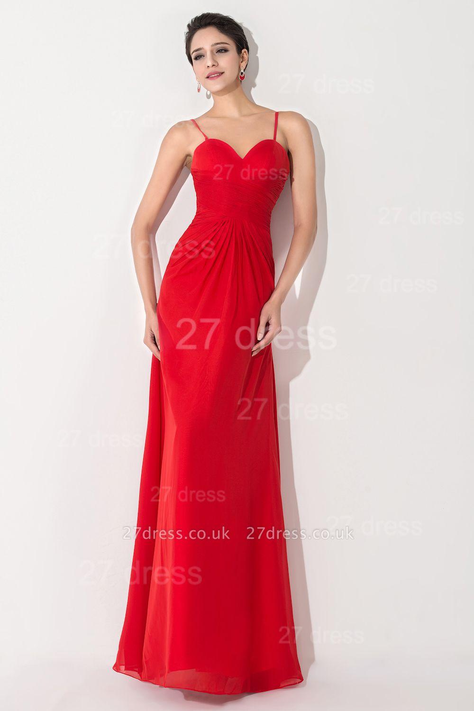 Red Chiffon A-line Evening Dress UK Spaghetti Strap