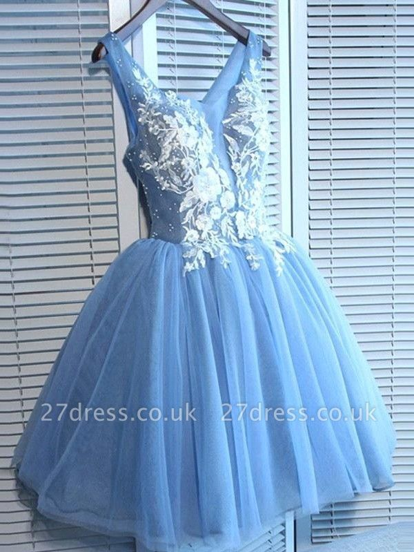Sexy Blue Short Homecoming Dress UKes UK | V-Neck Lace-Up Cocktail Dress UKes UK