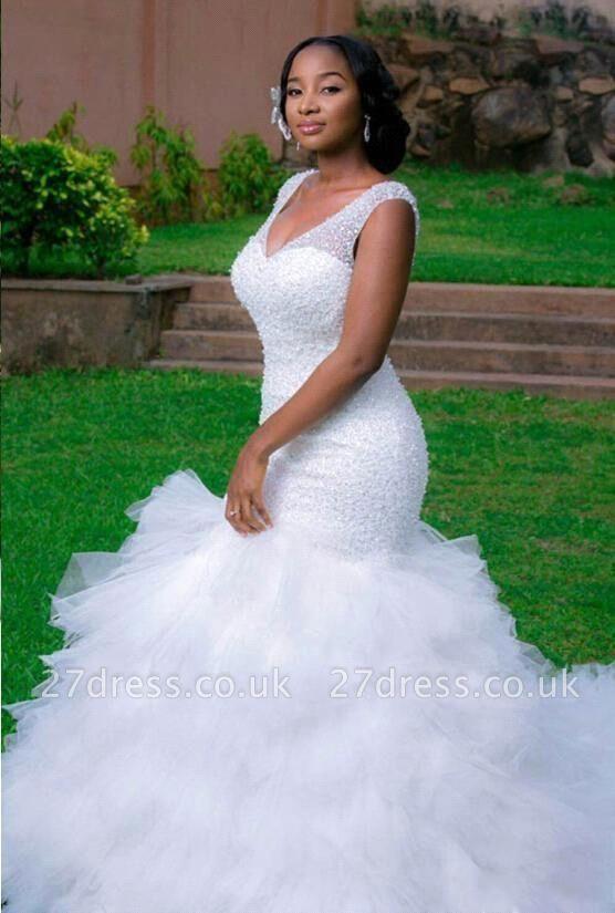 Elegant V-Neck Sexy Mermaid Wedding Dress Beadss Tulle
