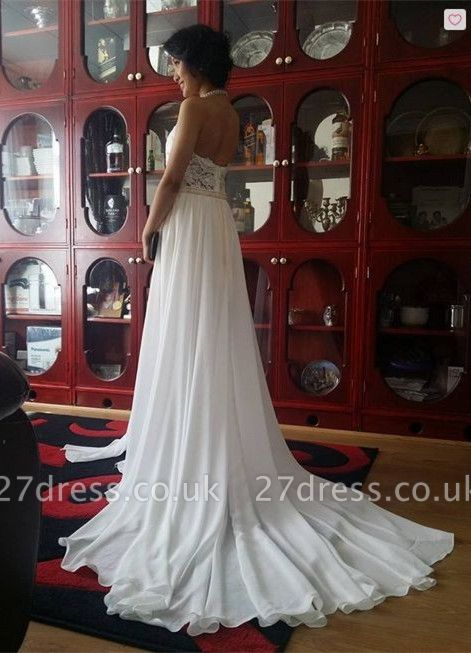 Newest High Neck Gorgeous Prom Dress UK Long beadings Chiffon Evening gown With Lace Appliques CPS231