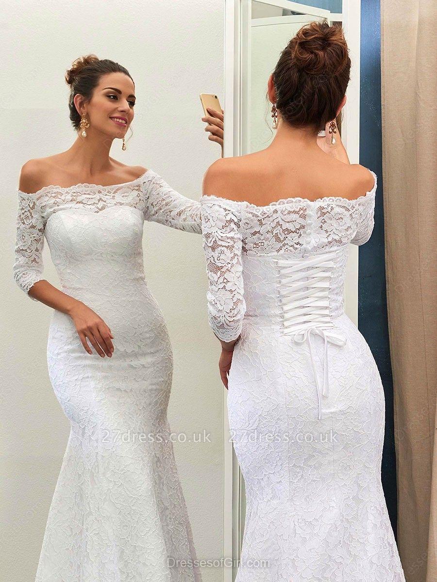 Sheath-Sheath Off-the-shoulder Sweep-train Simple Lace-up Half-sleeves Wedding Dress BA7158