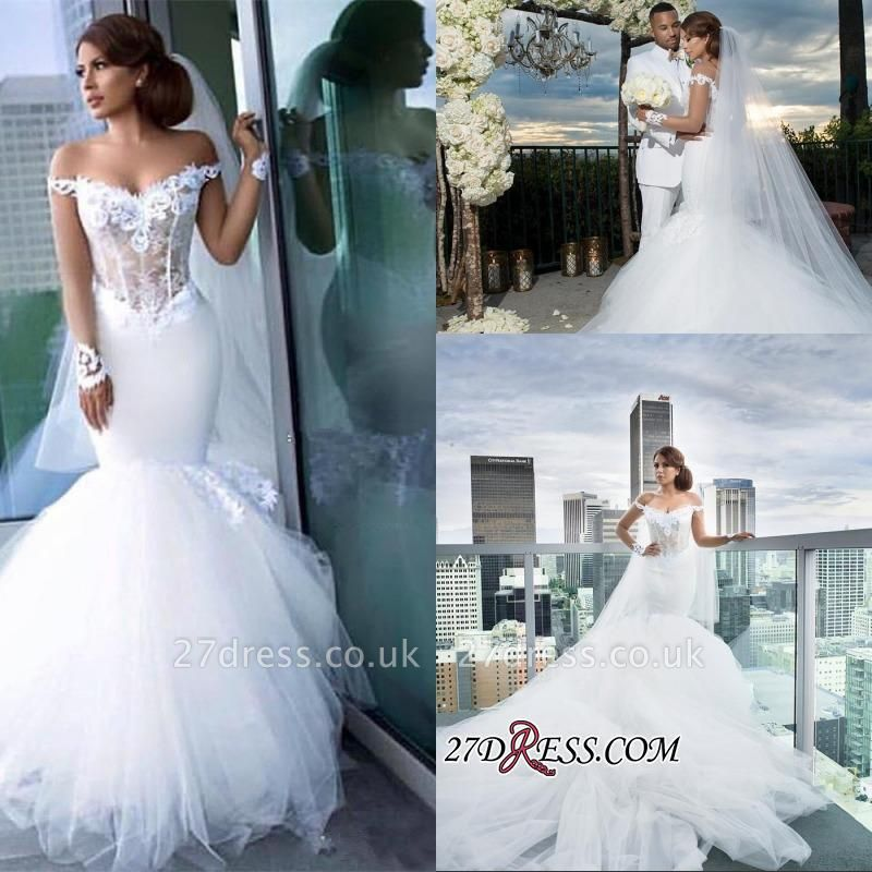 Tulle Long-Sleeves Off-the-Shoulder Appliques Sexy Mermaid Elegant Wedding Dress qq0158