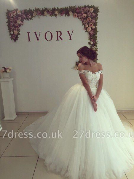 Fashion Off-the-shoulder Lace Wedding Dress Tulle Ball Gown