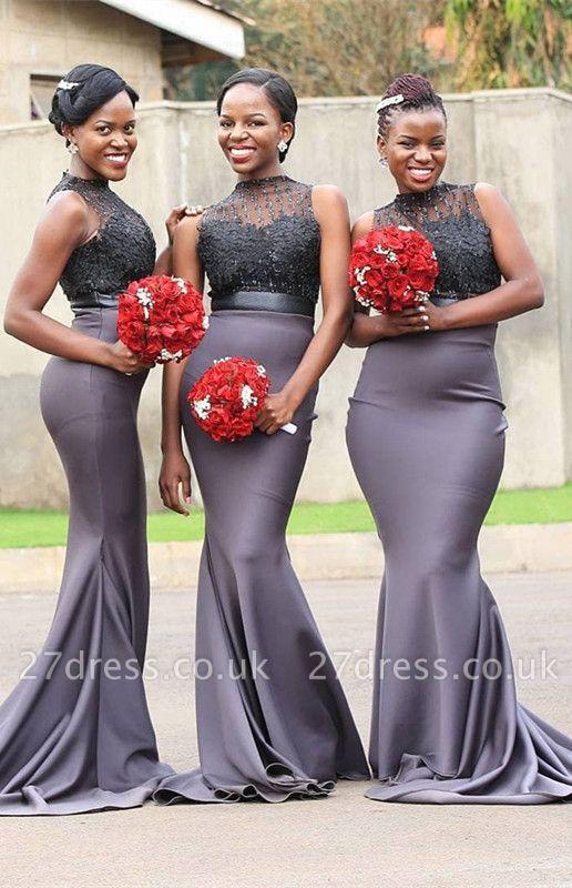 High-Neck Sleeveless Bridesmaid Dress UK | Mermaid Lace Maid Of Honor Dress UK