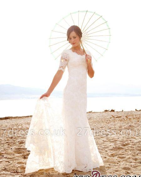 Sweep-Train Short-Sleeves Sheath-Sheath Lace Chic Scoop Neckline-Neck Wedding Dress