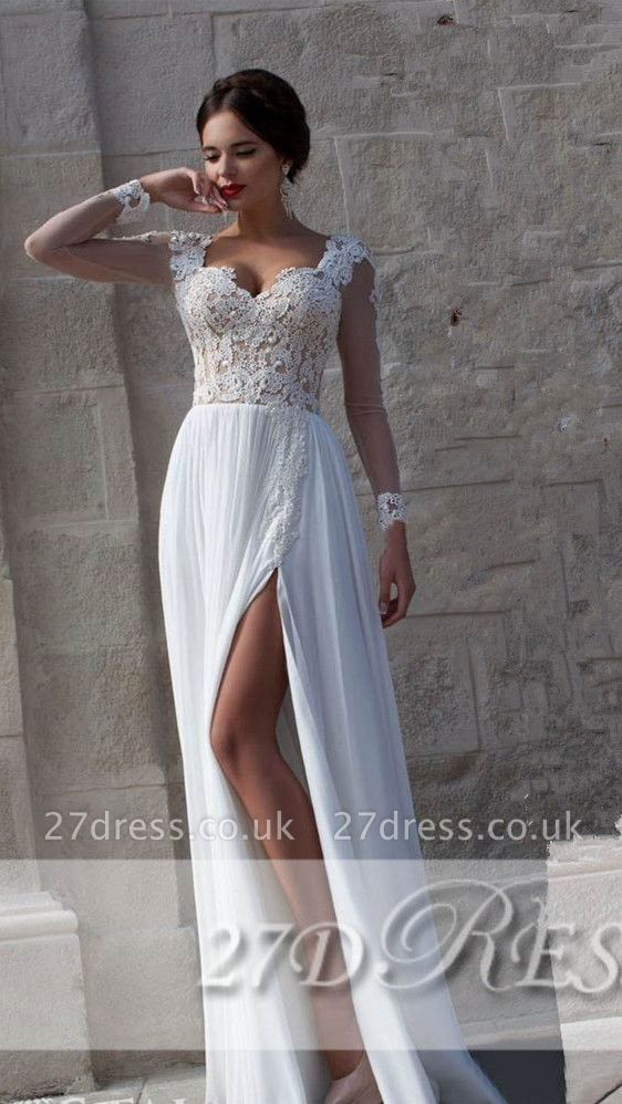 New Arrival Lace Long Sleeves Sweetheart Chiffon Prom Dress UK With Split