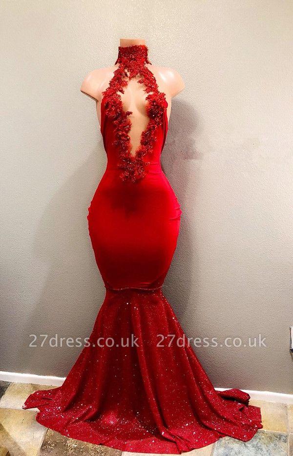 Elegant Red High Neck Mermaid Prom Dress UK | Prom Dress UK BA8154