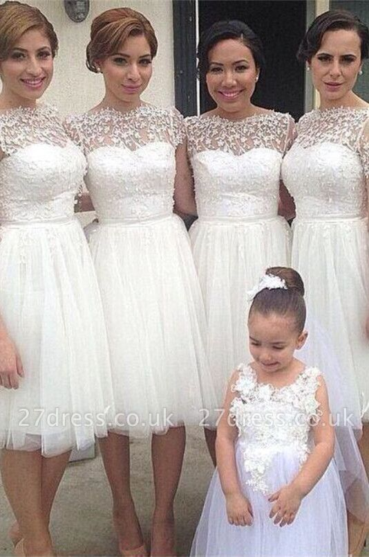 Romantic White Tulle Lace Bridesmaid Dress UK Short Sleeve