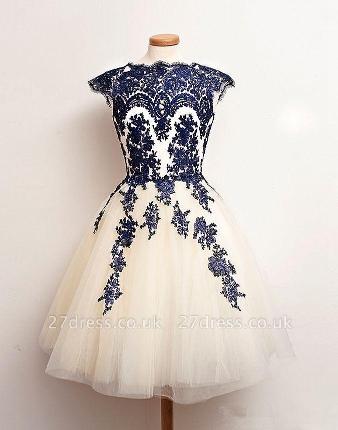 Newest Mini Lace Appliques Homecoming Dress UK Cap Sleeve Jewel