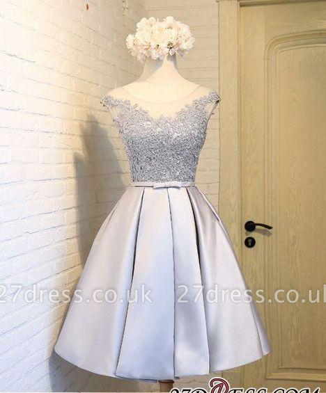 Sliver Dress UKes UK Homecoming Mini Newest A-Line Cap Sleeves Scoop Lace Cocktail Dress UKes UK