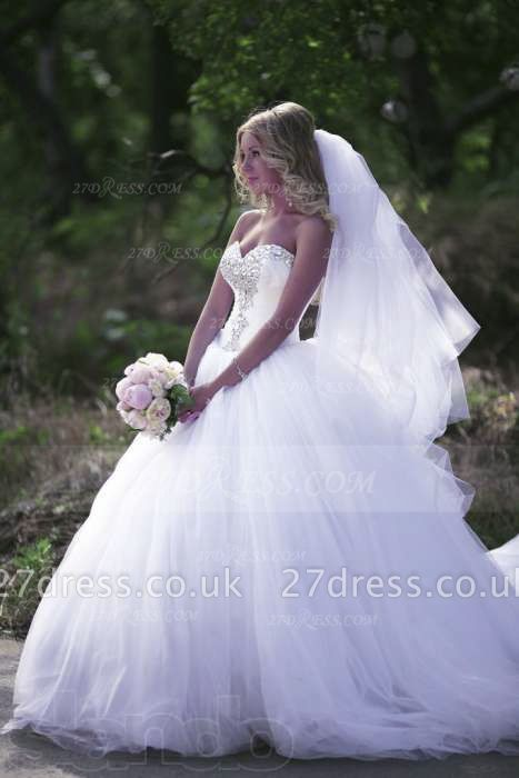 Crystal Tulle Ball Gown Wedding Dresses UK with Sweetheart Sleeveless Sequins Lace-up Court Train Bridal Gowns