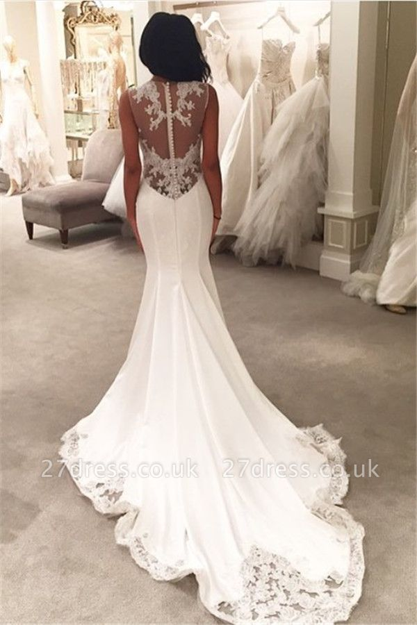 Sexy Mermaid Wedding Dresses UK Sheer Mesh Bridal Gowns with Lace Court Train BA3369