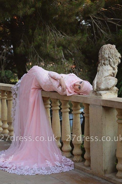 Timeless Pink Lace Appliques Arabic Wedding Dress Court Train Illusion