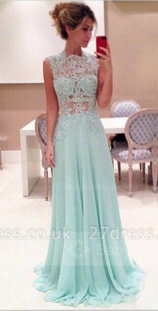 Sexy Sleeveless High-Neck Long Chiffon Prom Dress UKes UK With Appliques