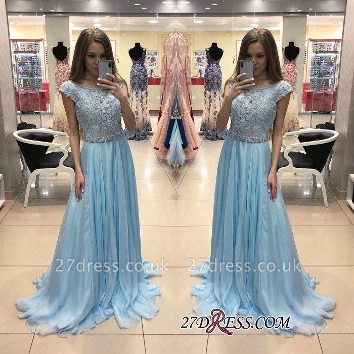 Sexy Cap-Sleeve Blue Prom Dress UK | Chiffon Long Lace Evening Dress UK