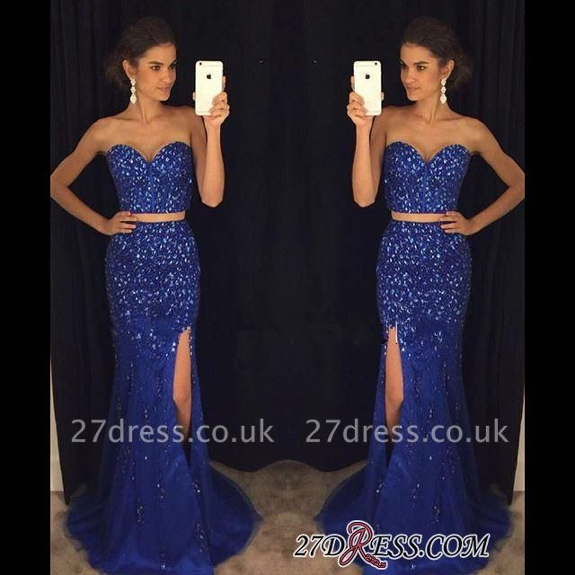 Luxury Beadings Sweetheart Mermaid Two-Pieces Split Prom Dress UK PT124-AP0