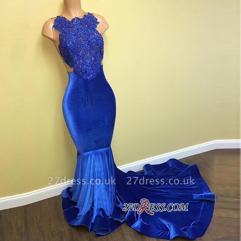 Lace Sleeveless Blue Mermaid Luxury Prom Dress UK FB0014