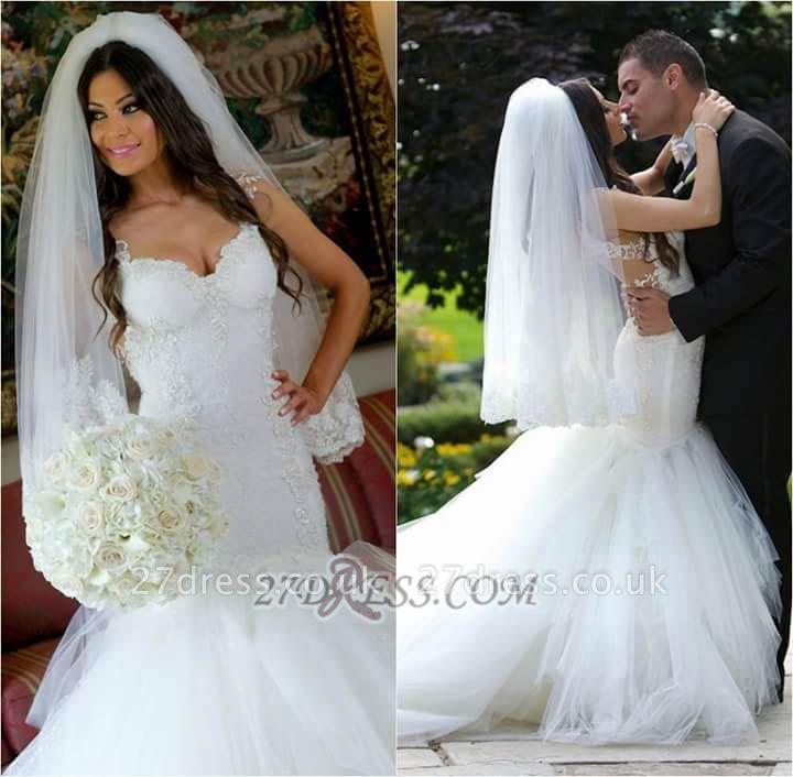 Elegant Sweetheart Lace Sexy Mermaid Wedding Dress Sleeveless Tulle Bridal Gowns