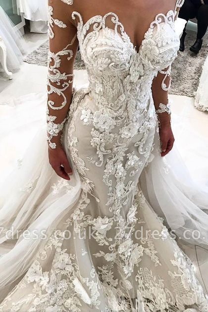 Delicate Lace Appliques  Sexy Mermaid Wedding Dress | Long Sleeve Bridal Gown BA9786