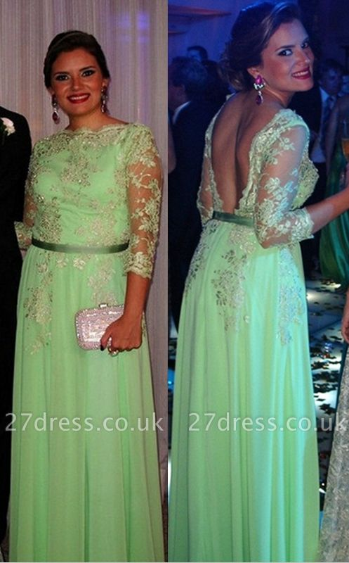 Lace Long Sleeve Open Back Dress UK New Arrival Luxury Gowns for Proms Appliques 3/4 Chiffon Evening