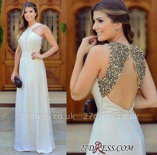 Long Chiffon Zipper Sleevless halter Beautiful Beadings Evening Dress UK