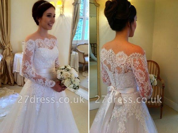 A-line Elegant Sweep-train Sashes Long-Sleeves Off-the-shoulder Wedding Dress