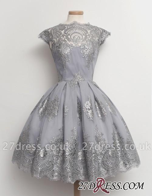 Black Little Knee-Length Lace Capped-Sleeves Homecoming Dress UKes UK