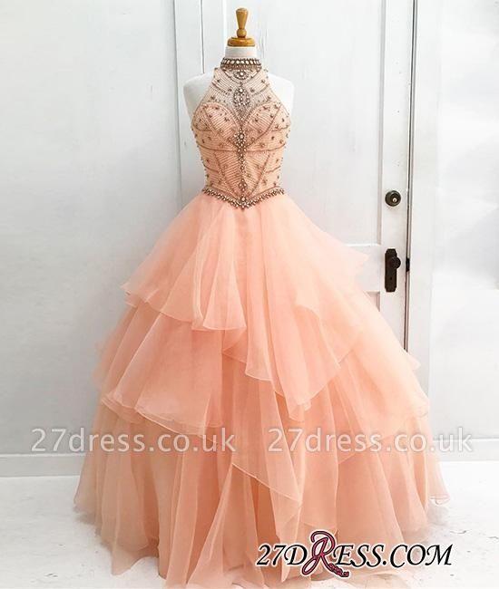 Neck Beading High Dress UKes UK Sexy Gown Sleeveless Ball Prom Evening Dress UKes UK