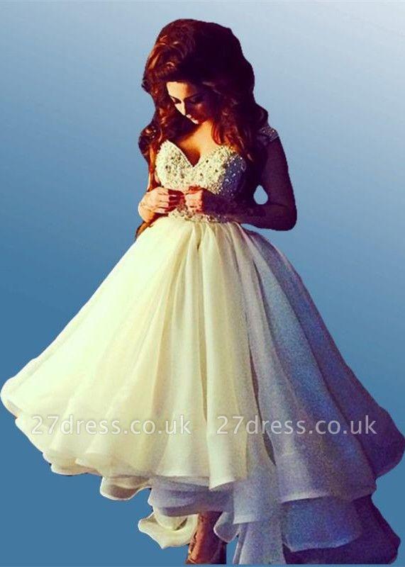 Elegant Off-the-shoulder Hi-Lo Princess Prom Dress UK Ruffles Crystals