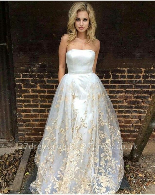 Gorgeous Strapless Prom Dress UK Long Tulle Lace Appliques On Sale