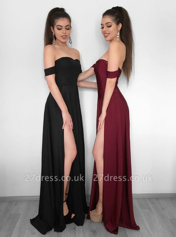 Sexy Off-the-Shoulder 2019 Evening Dress UK | Prom Party Gowns With Slit