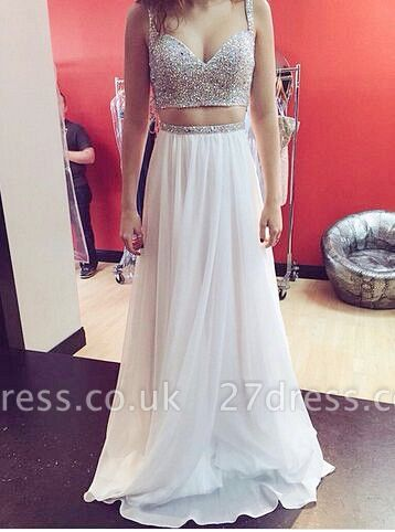 Elegant Sweetheart Sleeveless Beadings Long Chiffon Prom Dress UK With Spaghetti Strap And Crystals
